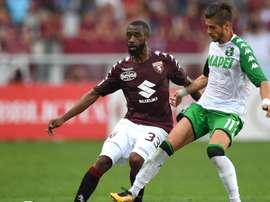 Nicolas Nkoulou of Torino, Sassuolos Diego Falcinelli