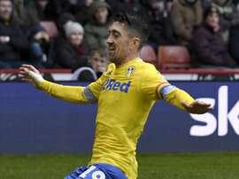 Pablo Hernandez celebrates putting Leeds top of the Championship. GOAL