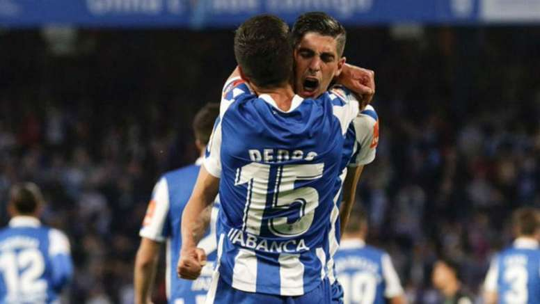 Carlos Fernandez scored a double for Depor in their first leg win over Malaga. GOAL