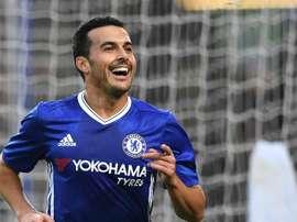 Pedro Chelsea après avoir inscrit un but avec Chelsea dans la FA Cup. AFP