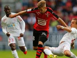 Pedro Henrique et Benoit Pedretti dans le match de Ligue 1 entre Rennes et Nancy. AFP