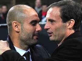 Pep Guardiola and Massimiliano Allegri. GOAL