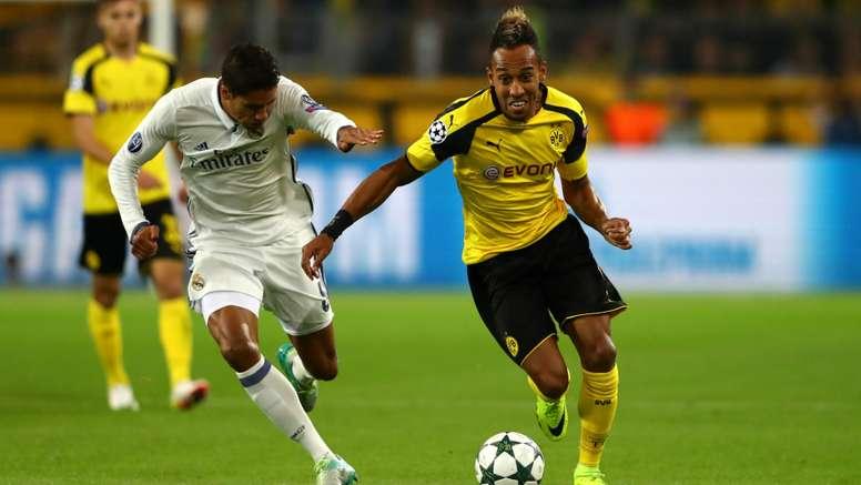 Aubameyang (R) in action for Dortmund. Goal