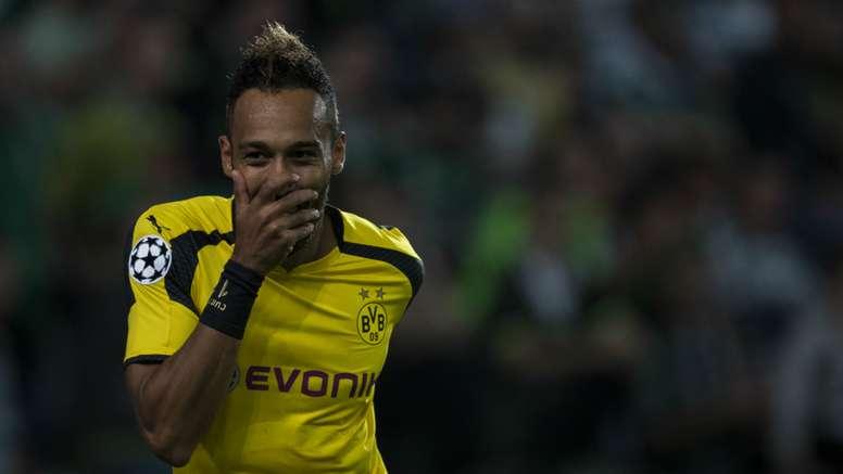 Pierre-Emerick Aubameyang celebrates scoring for Dortmund. Goal