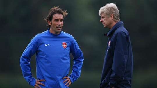 Pires and Wenger pictured at Arsenal. GOAL