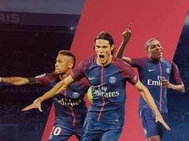 O que se espera seja o novo tridente ofensivo do PSG: Neymar-Cavani-Mbappé. Goal