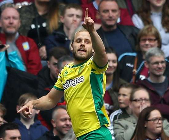 Pukki scored for Norwich as the Canaries won the Championship title. GOAL