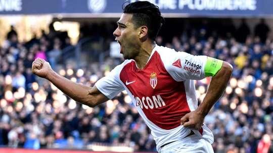 Radamel Falcao scoring for Monaco. GOAL