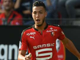 Ramy Bensebaini lors d'un match de Ligue 1 avec Rennes. Goal