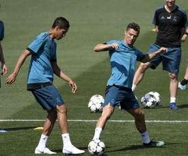 Raphael Varane Cristiano Ronaldo Real Madrid training 2018