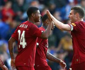 Rhian Brewster (2nd L) scored twice in Liverpool's 6-0 thrashing of Tranmere. GOAL