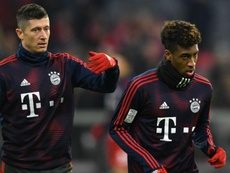 Robert Lewandowski e Kingsley Coman discutiram no treino do Bayern. Goal