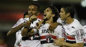 Os jogadores do 'Tricolor' celebram a passagem na Copa do Brasil. GOAL