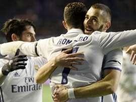 Ronaldo celebrating with Benzema and Isco. Goal