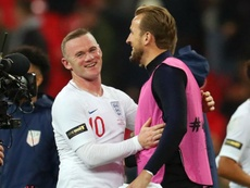 Rooney and Kane pictured after England's victory at Wembley. GOAL
