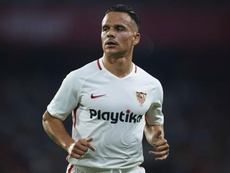 Roque Mesa was sent off in Sunday's 'Gran Derbi'. GOAL