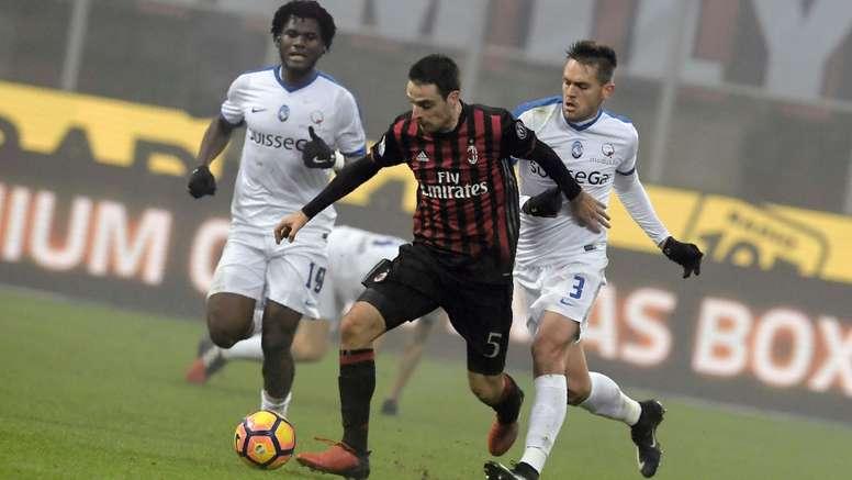 Giacomo Bonaventura in action for  Milan against Atalanta. Goal