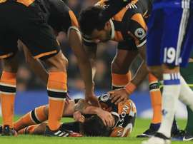 Ryan Mason on the ground moments after his injury. Goal