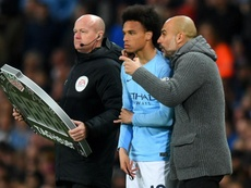 Guardiola denies it is awkward being with Sane, a player wanting to leave Man City. GOAL