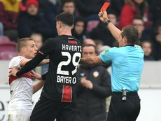Ascaibar was sent off against Leverkusen. GOAL