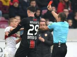 Ascaibar was sent off against Leverkusen. GOAL