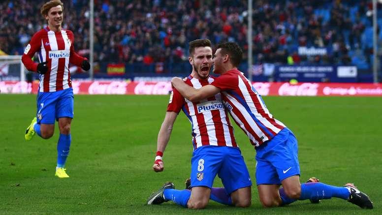 Saul celebrates his goal against Las Palmas. Goal