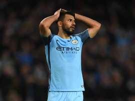 Sergio Aguero, lors d'un match de Premier League avec Manchester City. AFP