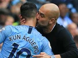 Sergio Aguero Pep Guardiola Manchester City 2018-19. Goal