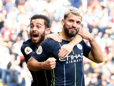 Aguero scored the only goal of the game for Man City. GOAL