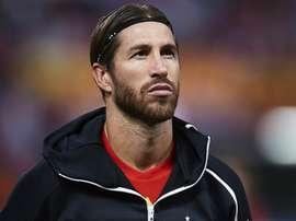 David Beckham congratulates Sergio Ramos after breaking Spain record
