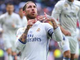 Sergio Ramos celebrating one of his goals for Real Madrid. Goal