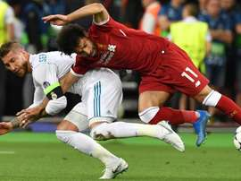 Falta de Sergio Ramos sobre Mohamed Salah. Goal