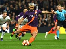 Sergio Aguero missed a penalty against Tottenham. GOAL