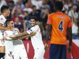 Les Andalous fêtent leur qualification pour la phase de poules. AFP