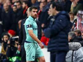 Sokratis was sent off in the defeat to Rennes. GOAL