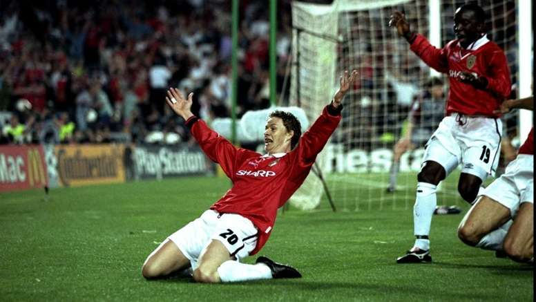 Ole Gunnar Solskjaer after scoring the dramatic winner in Munich 20 years ago. GOAL