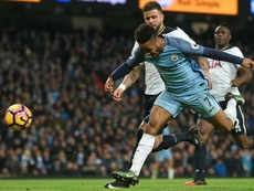Sterling racing for the ball. Goal