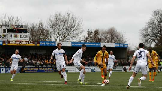 A view of a Sutton United match at Gander Green Lane. Goal