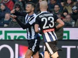 Cyril Thereau of Udinese celebrating. Goal