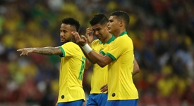Thiago Silva (R) was disappointed by the fact his team were held by Senegal. GOAL