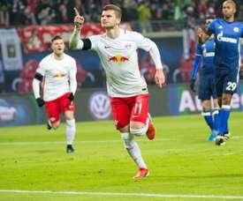 Timo Werner celebrates scoring for Leipzig. Goal