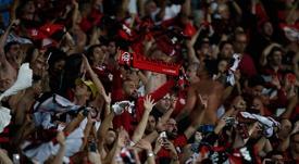 Torcida do Flamengo comemora vitória sobre o Emelec pela Conmebol Libertadores