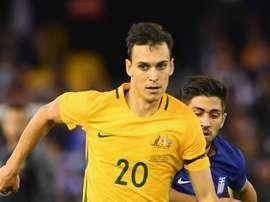 Trent Sainsbury lors d'un match amical Australie-Grèce. AFP