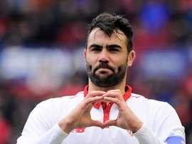 Vicente Iborra après avoir inscrit un but dans le match de Liga entre Osasuna et Séville. AFP