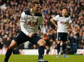 Vincent Janssen, lors d'un match de Premier League avec Tottenham. AFP