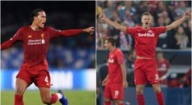 Salzburg phenomenon Haaland out to 'trick' Liverpool's Van Dijk. Goal