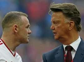 Wayne Rooney and Louis van Gaal. Goal