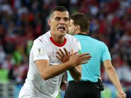 Xhaka celebrated a World Cup goal against Serbia showing Albania¡s two-headed eagle. GOAL