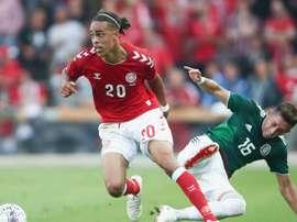 Poulsen scored for Denmark. GOAL