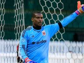 Goalie Bill Hamid of D.C. United celebrates after making a second half stop against the Montreal Impact during their 1-0 win at RFK Stadium on March 7, 2015 in Washington, DC